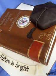 Grad School 08 Single Book Law School Graduation Cake