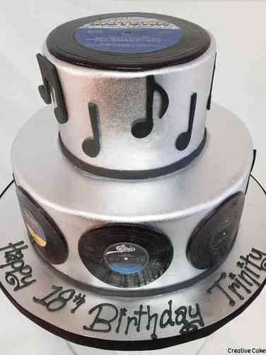 Pop 12 Silver Records Birthday Cake