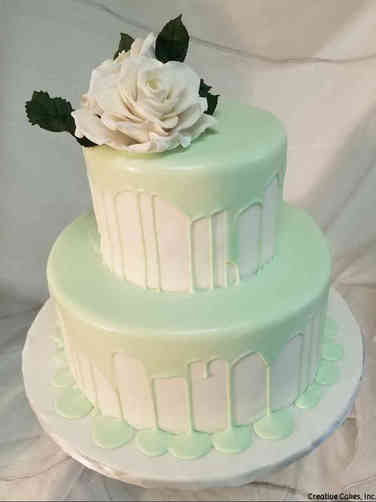 Trendy 29 Mint Green Drip Wedding Cake