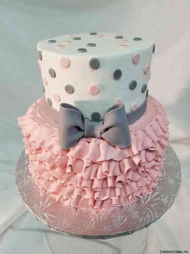 Girls 30 Grey and Pink Polka Dots and Ruffles Baby Shower Cake