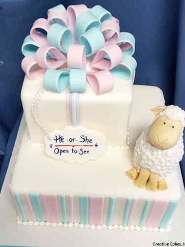 Reveal 03 Little Lamb Gender Reveal Cake