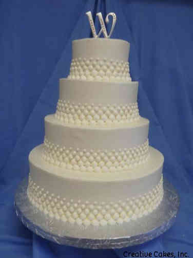 Elegant 27 Piped Dots Wedding Cake