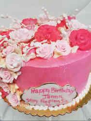 Floral 43 Pink Cascade Birthday Cake
