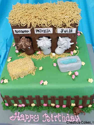 Animals 04 Horse Stables Birthday Cake