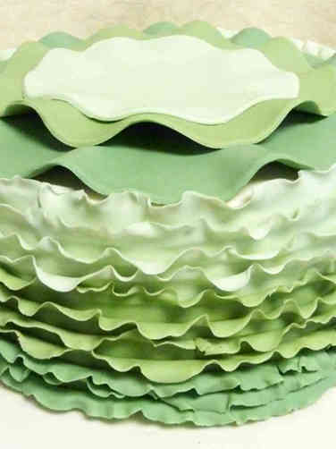 Unique 15 Green Ruffles Wedding Shower Cake