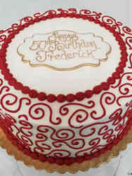 Other 01 Handsome Red Scrolls Birthday Cake