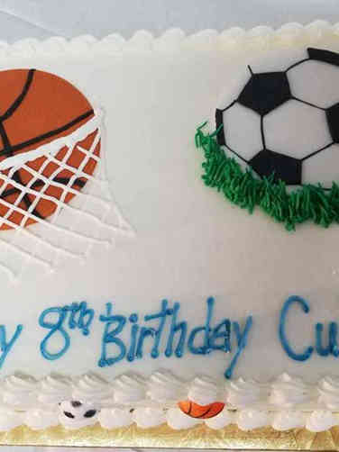 Sports 16 Basketball and Soccer Birthday Cake