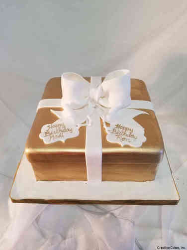 Feminine 40 Gold and White Bow Gift Box Birthday Cake