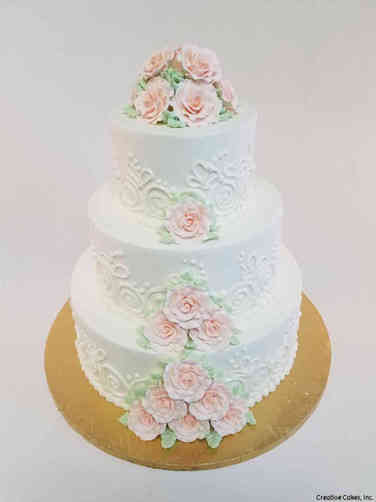 Simple 24 Pink Roses and Abstract Piping Wedding Cake