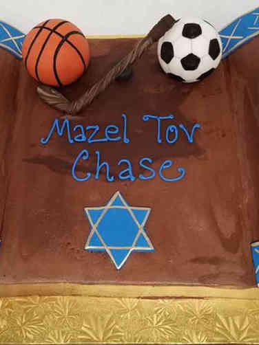 Mitzvah 03 Torah Scroll Sports Ball Cake