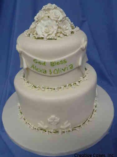 Baptism 07 Elegant White and Green Baptism Cake