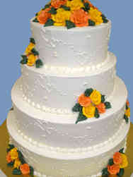 Floral 44 Hearts and Roses Wedding Cake