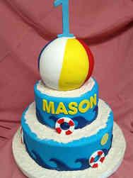 Neutral 04 Beach Party First Birthday Cake