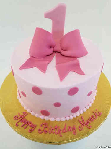 Girls 34 Polka Dots and Bow First Birthday Cake