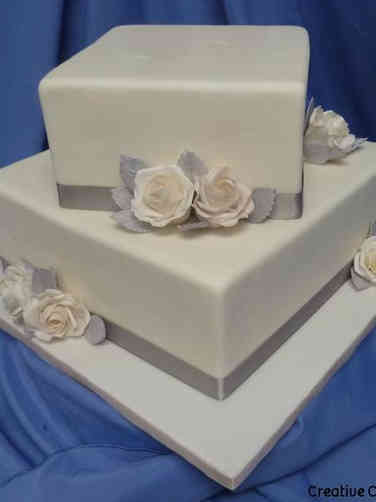 Floral 35 Blush and Silver Roses Wedding Cake