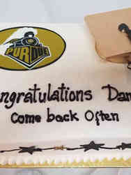 College 08 Purdue Gold and Black College Graduation Cake