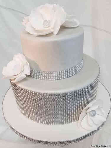 Floral 13 Silver Bling Birthday Cake