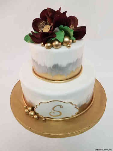 Trendy 31 Painted Metallic Magnolias Wedding Cake
