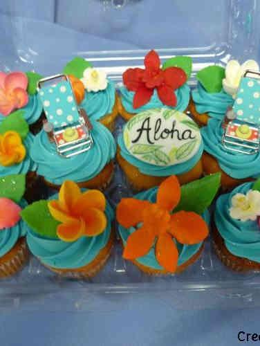 Adult 22 Hawaiian Flowers Birthday Cupcakes