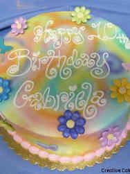 Unique 43 Rainbow Tie Dye and Daisies Birthday Cake