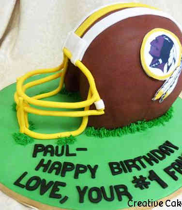 Sports 25 3D Washington Redskins Football Helmet Birthday Cake