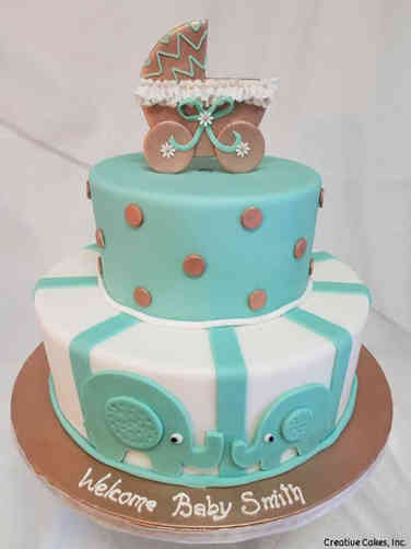 Neutral 08 Carraige and Elephants Baby Shower Cake