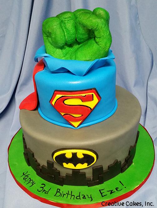 Superheroes 08 Batman Superman And Hulk Birthday Cake