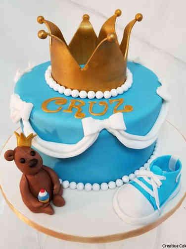 Boys 07 Prince Teddy Bear Baby Shower Cake