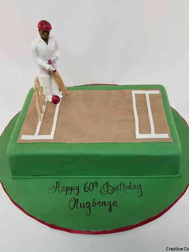 Sports 55 Cricket Birthday Cake
