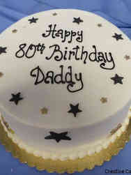 Other 15 Black and Small Gold Stars Birthday Cake