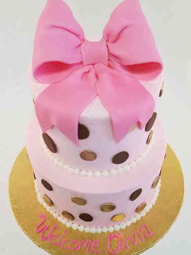 Girls 35 Big Bow Baby Shower Cake