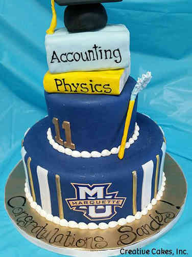 College 18 Tiered Marquette University College Graduation Cake