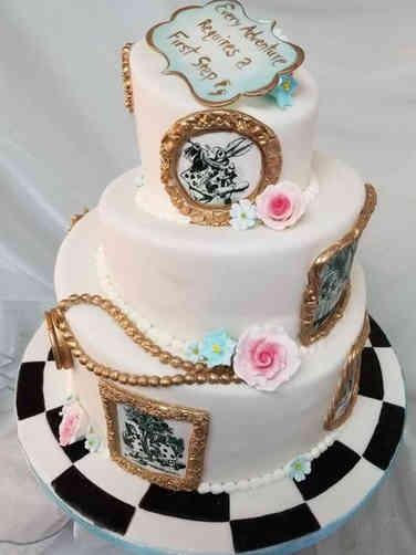 Neutral 21 Alice in Wonderland Baby Shower Cake