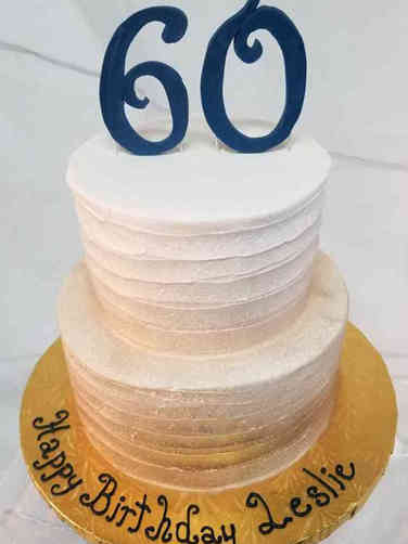 Numbers 15 Gold Ombre Textured 60th Birthday Cake