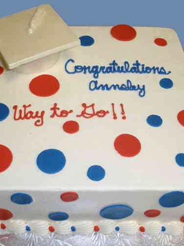 High School 16 Blue and Red Polka Dots High School Graduation Cake