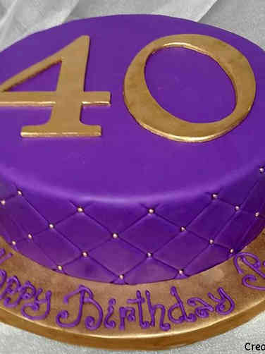 Numbers 05 Purple Quilted 40th Birthday Cake
