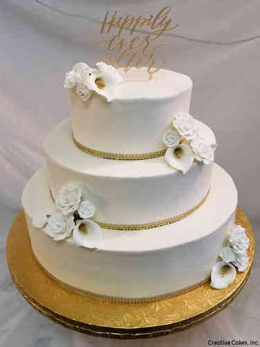 Simple 12 Cala Lillies and Roses Wedding Cake