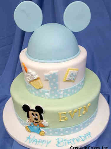 Neutral 06 Baby Mickey First Birthday Cake