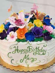Floral 17 Rainbow Garden Birthday Cake