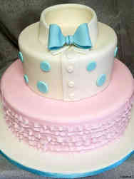 Reveal 04 Bow Tie and Ruffles Gender Reveal Cake