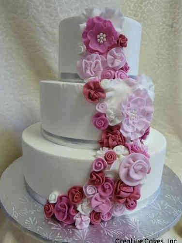 Floral 27 Pink Fabric Roses Wedding Cake