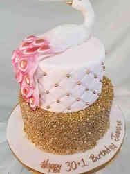 Feminine 50  Pink Peacock Birthday Cake