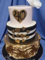 Feminine 38 Modern Gold and Black Birthday Cake