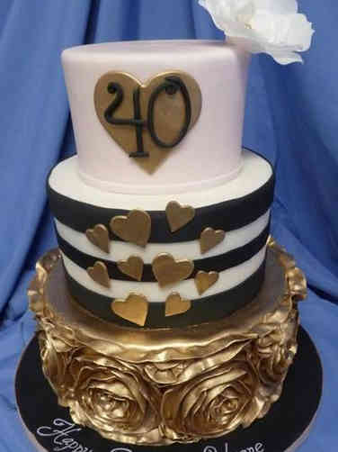 Feminine 38 Modern Gold and Black Birthday Cake