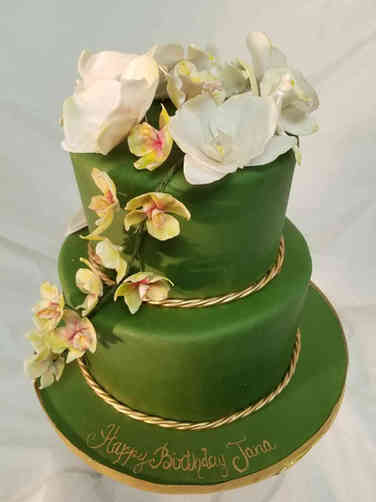 Floral 45 Green Birthday Cake with Lovely Handmade Flowers