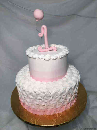 Girls 27 Pink Ombre First Birthday Cake