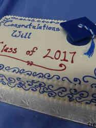 High School 26 Blue Swirls High School Graduation Cake