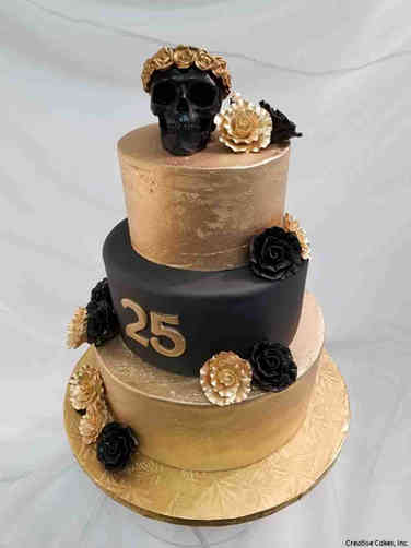 Numbers 33 Black and Gold Skull 25th Birthday Cake