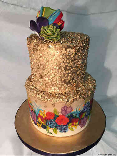 Trendy 22 Hand Painted Flowers Wedding Cake