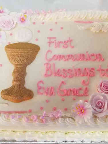 Communion 05 Chalice and Roses First Communion Cake